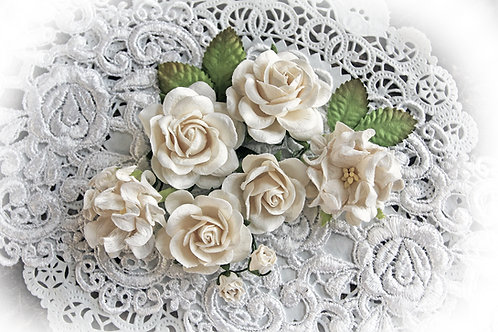 White Roses,Gardenias & Leaves Mulberry Flowers