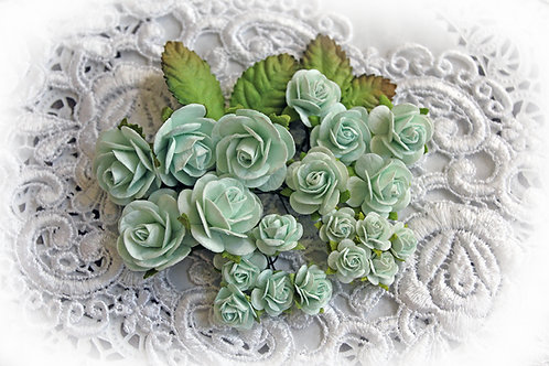 Mini Dusty Teal Mulberry Paper Roses & Leaves Set
