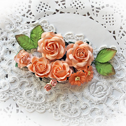 Soft Peach Roses And Leaves Mulberry Paper Flower Set