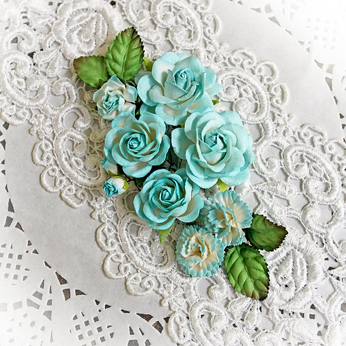Teal And White Roses & Leaves Mulberry  Flowers