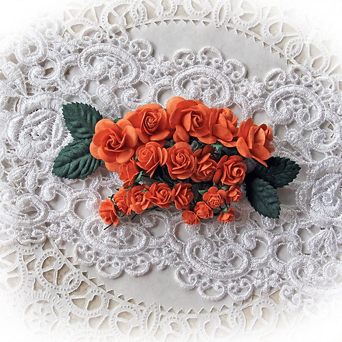 Mini Orange Mulberry Paper Roses and Leaves Set