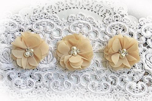 Khaki Chiffon Pearl & Rhinestone Flowers