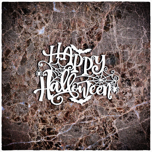 Beautiful Words Small Happy Halloween Laser Cut Chipboard