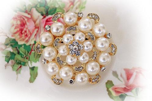 Vintage Romance Ivory Pearl &  Rhinestone Brooch