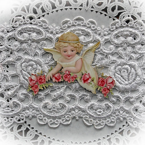 Printed Beautiful Board Large Heavenly Angel Topper Chipboard