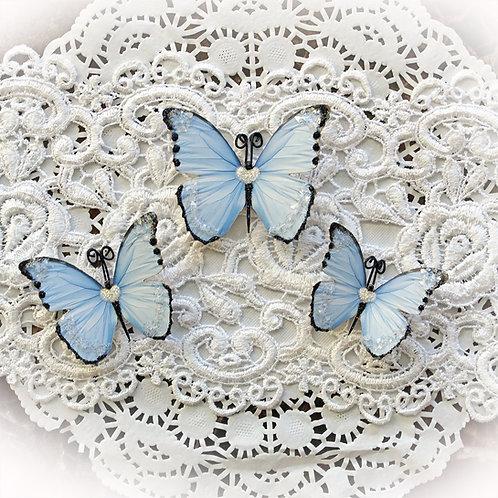 Sweetheart Blue  Premium Paper Glitter Glass Butterflies