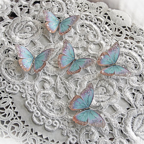 Tiny Treasures Watercolor Spun Sugar Premium PaperGlitter Glass Butterflies