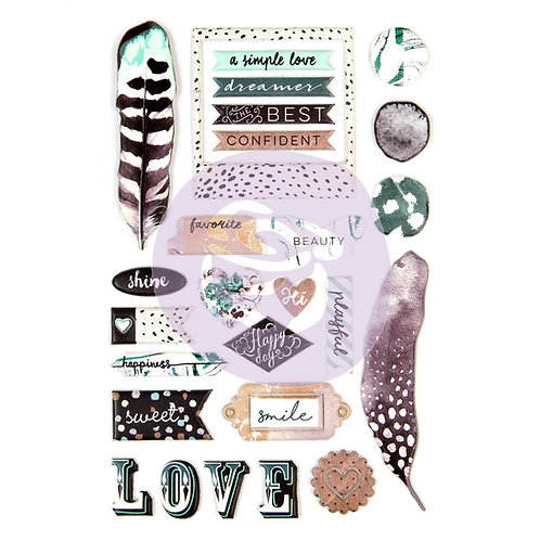 Prima Zella Teal Collection Puffy Stickers