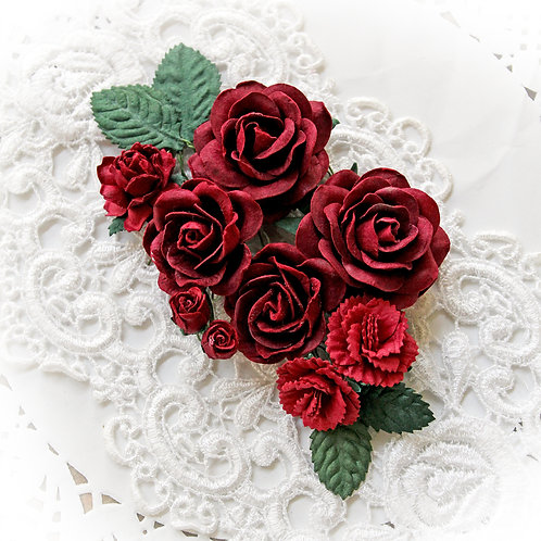 Burgundy Roses And Leaves Mulberry Paper Flower Set