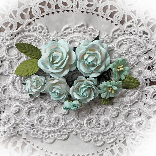 Seafoam & White Roses and Leaves Mulberry Paper Flowers