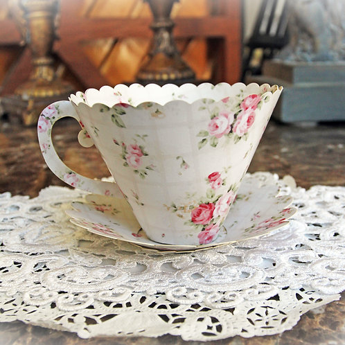 Reneabouquets English Tea Rose 3D Preimium Paper Tea Cup DIY  Die Cut Set