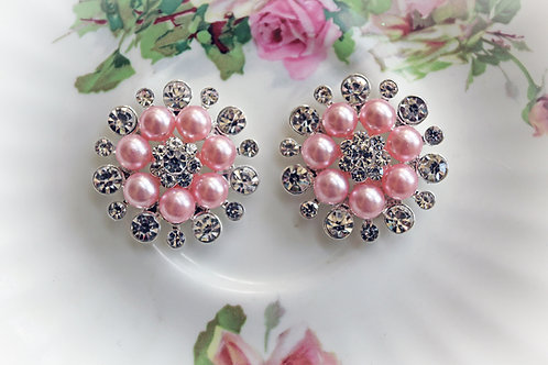 Pink Pearl And Rhinestone Button Set Of 2