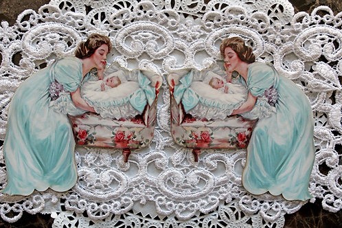 Printed Beautiful Board Large Mother & Child Laser Cut Chipboard Die C