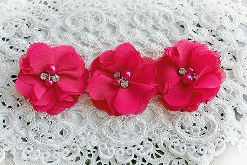 Hot Pink Chiffon Pearl & Rhinestone Flowers