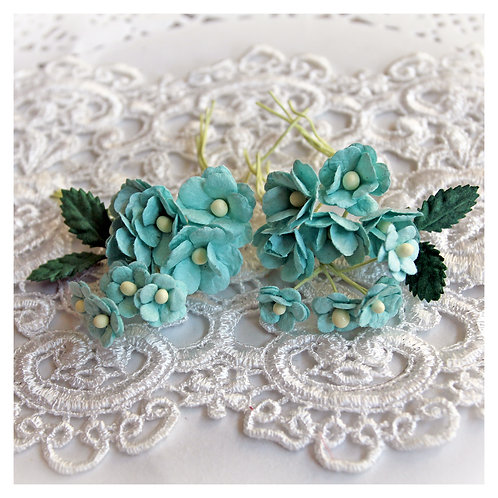 Itty Bitty Blossoms and Leaves Seafoam Mulberry Paper Flowers