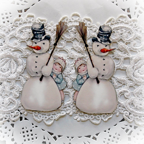 Printed Beautiful Board Tiny Diane's Snowman Laser Cut Chipboard