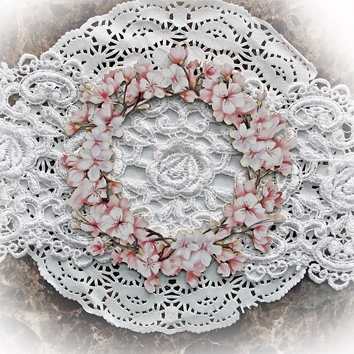 Printed Beautiful Board Large Cherry Blossom Frame Laser Cut Chipboard