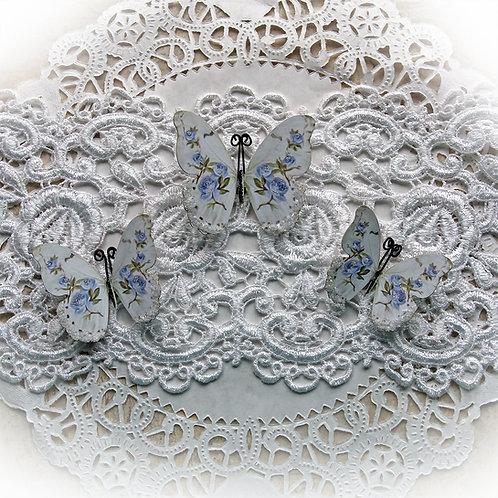 Shabby Blue Roses Premium Paper Glitter Glass Butterflies