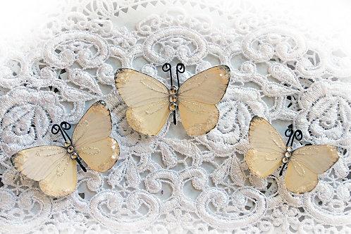 Darling Soft Yellow Premium Paper Glitter Glass Butterflies