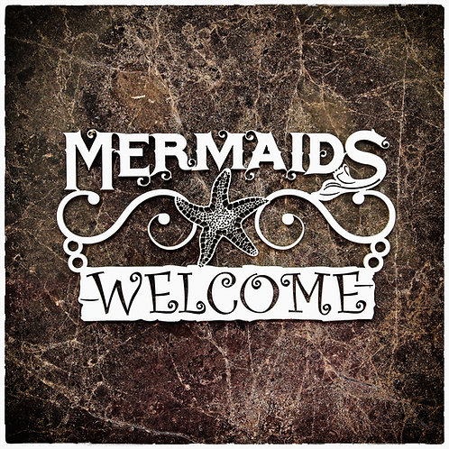 Beautiful Board Large Mermaids Welcome Laser Cut Chipboard