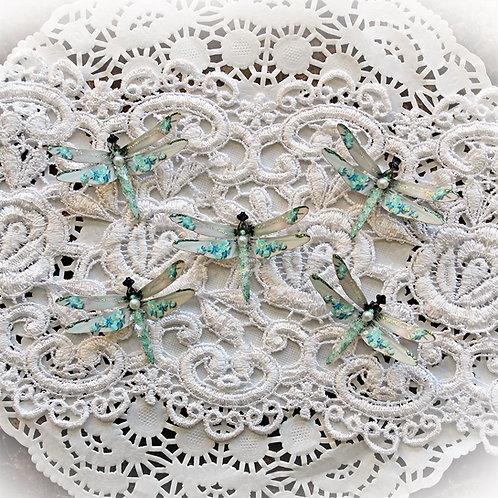 Tiny Treasures Watercolor Shabby Patina Roses Premium Paper  Dragonflies