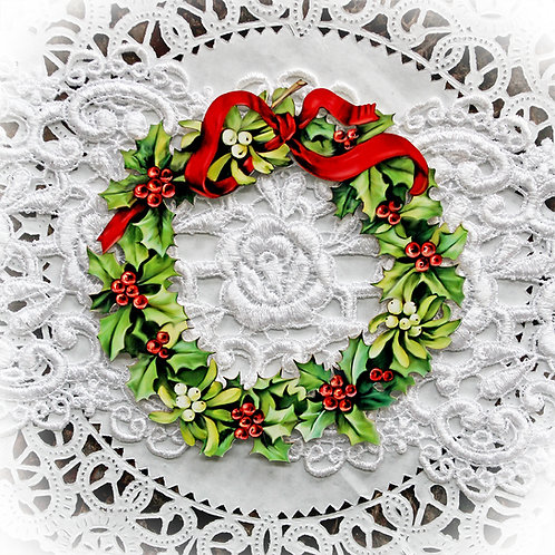 Printed Beautiful Board Small Christmas Holly And Berry Wreath Frame