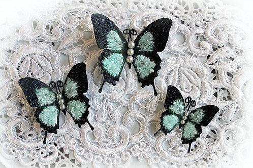 Soft Teal Glitter Glass Butterflies