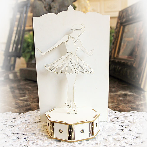 Beautiful Board 3D Ballerina On Stage Do It Yourself Laser Cut Chipboard Kit