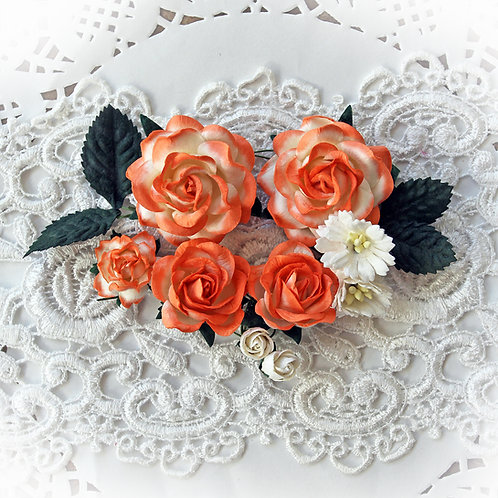 Dark Peach And White Roses And Leaves Mulberry Paper Flower Set