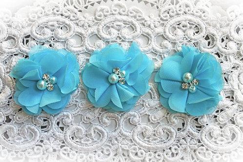 Winter Blue Chiffon Pearl & Rhinestone Flowers