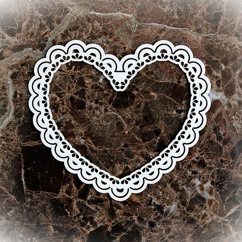 Beautiful Board Medium Lacy Heart Frame Laser Cut Chipboard