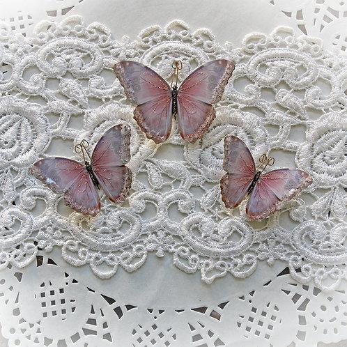 Watercolor Spun Candy Glitter Glass Premium Paper Butterflies