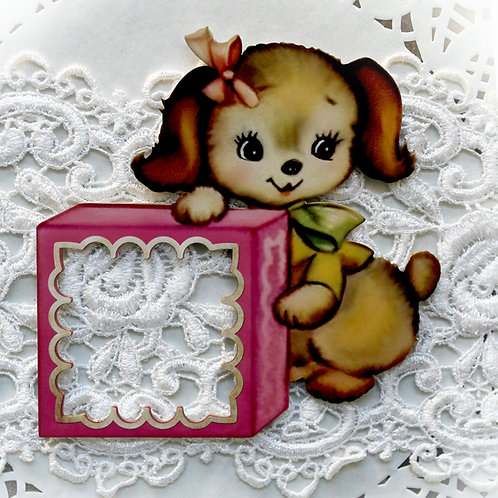 Printed Beautiful Board Baby Blocks Puppy Frame Chipboard
