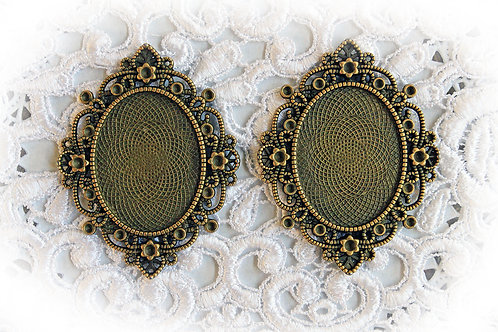 Reneabouquets~ Baroque Metal Frames Set Of 2 Choose Bronze Or Silver