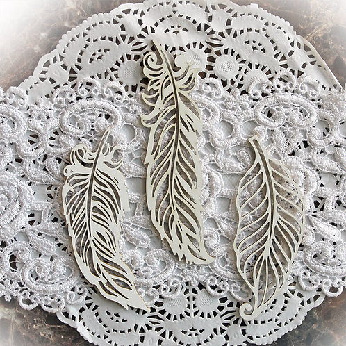 Beautiful Board Small Feathers Set Of 3 Laser Cut Chipboard
