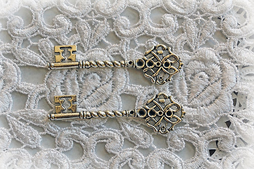 Key Set Of 2-Garden Gate Silver Metal Keys