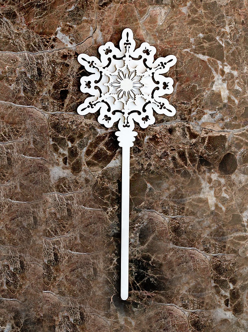 Beautiful Board Pocket Wand Snowflake One Laser Cut Chipboard