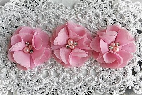 TuTu Pink Chiffon Pearl & Rhinestone Flowers