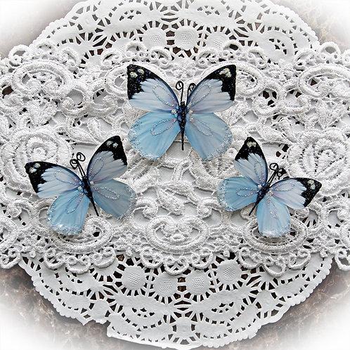 Aurora Borealis In Blue Premium Paper Glitter Glass Butterflies