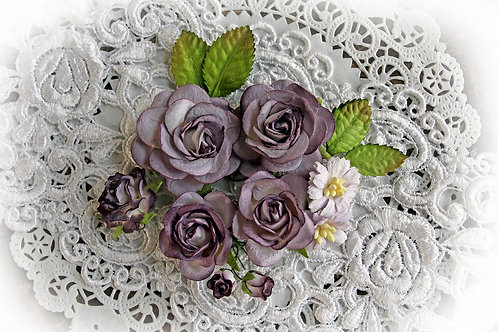 Dusty Purple & White Roses & Leaves Mulberry