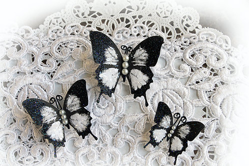 Black & White Glitter Glass Butterflies