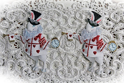 Small White Rabbit With Red Hearts Premium Paper Die Cut Set