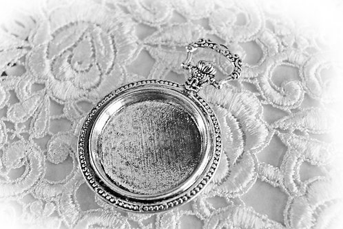 Reneabouquets Silver Pocket Watch Cabochon