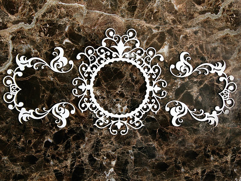 Beautiful Board  Tiny Victorian Scroll Frame & 2 Accents Laser Cut Chipboard