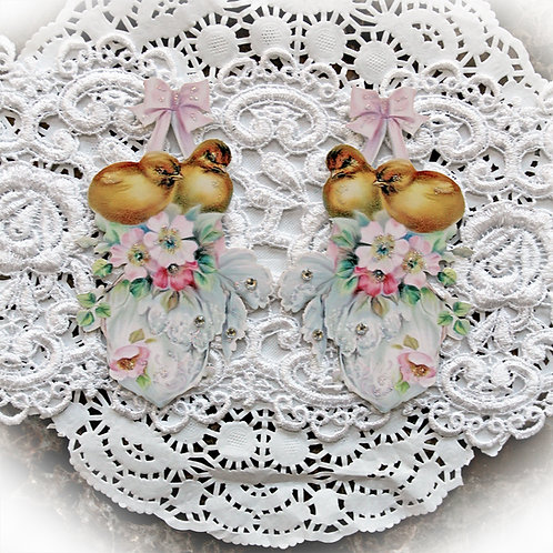 Vintage Sweet Baby Chicks Premium Paper Die Cut Set Of 2