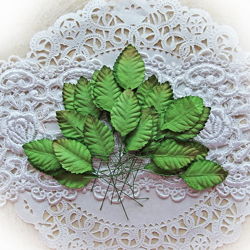 Mulberry Paper Medium Leaves Set of 25 Individual Leaf Pieces With Stems