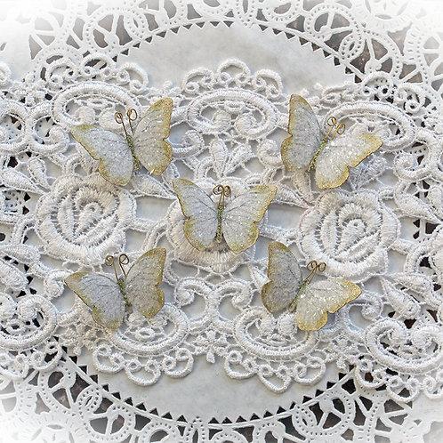 Tiny Treasures Pale Gold Fairy Dust Glitter Glass Premium Paper Butterflies