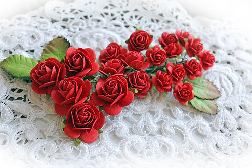 Mini True Red Mulberry Paper Roses & Leaves Set