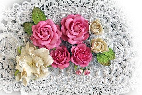 Dark Pink Wild Roses,Gardenia & Leaves Flower Set