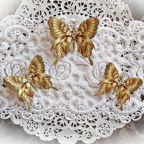 Gold Ribbons & Bows Premium Paper Butterflies